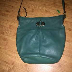 B. Makowsky Green Soft Leather Crossbody HANDBAG